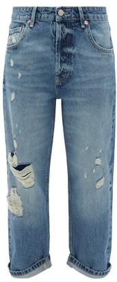Raey Dad Ripped Boyfriend Jeans - Womens - Light Blue