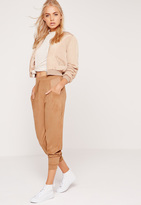 Missguided Perforated Faux Suede Cuffed Joggers Tan