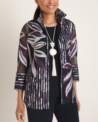 Travelers Collection Striped Floral-Embroidered Jacket