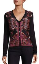 Versace Long-Sleeve Printed Silk & Cotton Cardigan