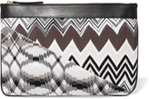 Missoni Leather and crochet-knit pouch