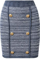 Balmain Jersey-trimmed Button-embellished Tweed Mini Skirt - Blue