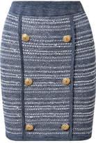 Balmain Jersey-trimmed Tweed Mini Skirt - Blue