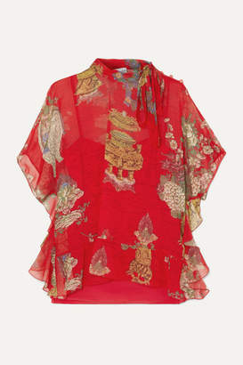 RED Valentino Pussy-bow Ruffled Printed Silk-chiffon Blouse