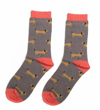 LilyRosa Grey Dachshund Socks Sausage Dog Dogs Womens Girls Bamboo Mix Gift