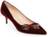 Christian Louboutin Bordeaux Mlle Menile Embellished Velvet Kitten Heel Pumps