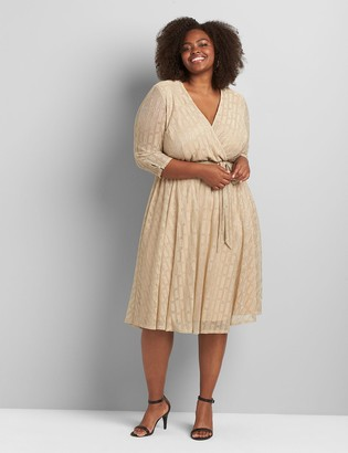 Lane Bryant Crossover Textured Midi Dress