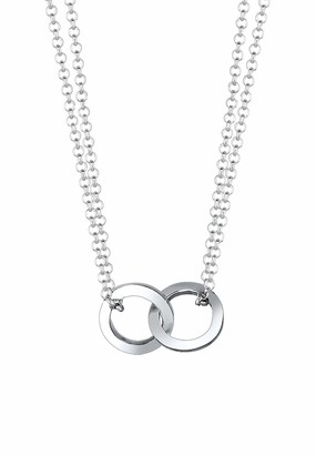 Elli Women's 925 Sterling Silver Circle Geo Trend Bloggers Layer Necklace Chain with Pendant of Length 40 cm