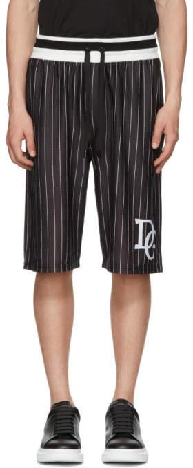 Dolce & Gabbana Black and White Striped Basketball Shorts