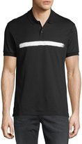 Neil Barrett Brushstroke Stripe Piqué Polo Shirt