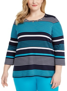 Alfred Dunner Plus Size Easy Street Grommet-Detail Striped Top