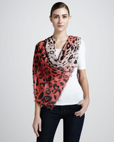 McQ by Alexander McQueen Leopard-Print Scarf, Coral/Pink