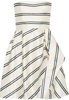 Halston Strapless Striped Satin-twill Mini Dress - White