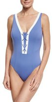 Letarte Santorini Lace-Up Front One-Piece Swimsuit, Bleached Denim