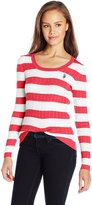 U.S. Polo Assn. Junior's Stripe Cable Knit Scoop Neck Pullover