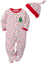 Offspring Holiday Polka Dot Footie & Hat Set (Baby Girls)