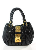 Miu Miu AUTH Black Leather Small Matelasse Coffer Satchel Handbag BC8046 MHL