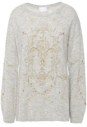 Camilla Crystal-embellished Printed Brushed Alpaca-blend Sweater