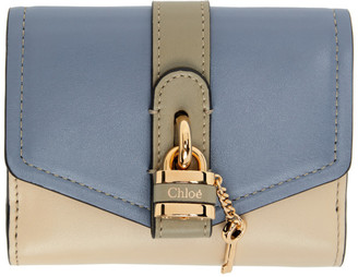 Chloé Blue and Beige Aby Square Wallet