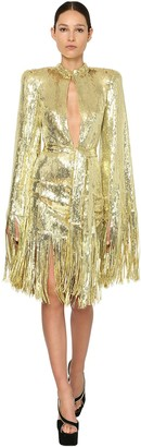 Balmain Sequined Mini Dress W/ Fringes