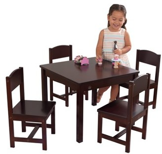 Kid Kraft Farmhouse Table & 4 Chair Set - Espresso