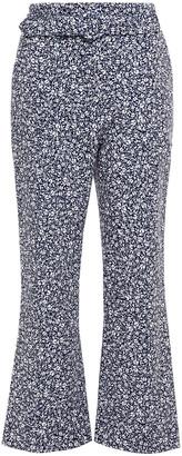Jonathan Simkhai Cropped Belted Printed Stretch-crepe Bootcut Pants