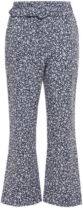 Jonathan Simkhai Florence Belted Floral-print Stretch-crepe Kick-flare Pants