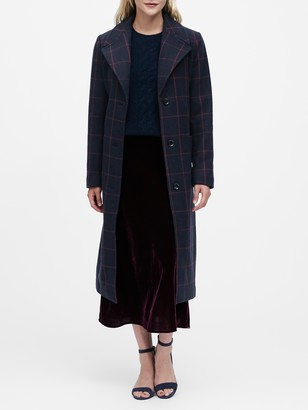 Banana Republic Plaid Italian Melton Long Coat