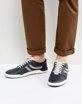 BOSS ORANGE by Hugo Boss Leather Detail Sneakers Navy
