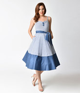 Unique Vintage 1940s Style Blue & White Striped Seersucker Lonestar Swing Dress