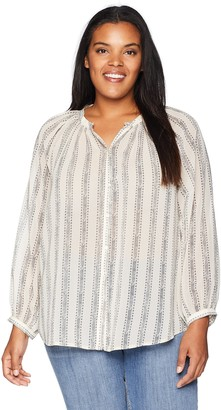 Lucky Brand Women's Size Plus Stripe Peasant TOP