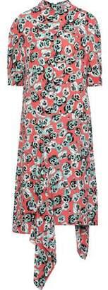 Marni Asymmetric Draped Floral-print Crepe Midi Dress