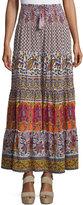 Calypso St. Barth Denueve Mixed-Print Maxi Skirt, Saigon