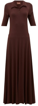 ALBUS LUMEN Azul Polo-shirt Jersey Maxi Dress - Brown