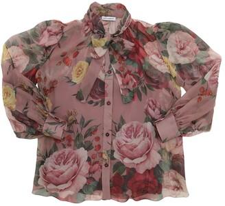 Dolce & Gabbana Baroque Floral Print Silk Chiffon Shirt