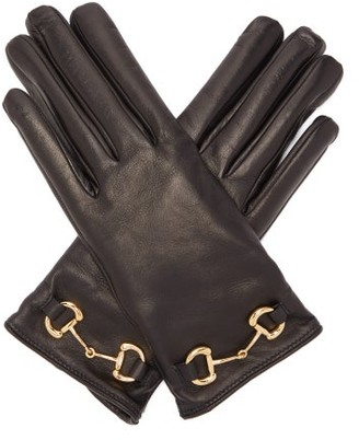 Gucci Horsebit Leather Gloves - Womens - Black