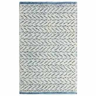 Company C Herringbone Berber Chevron Handwoven Blue/White Area Rug CompanyC Rug Size: Rectangle 2' x 3'