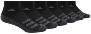 adidas Big Boys Cushioned Angle Stripe Quarter Sock Pack of 6