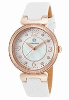 Cabochon Women's 'Saga' Quartz Stainless Steel and White Leather Casual Watch (Model 16561-RG-02-WHS)
