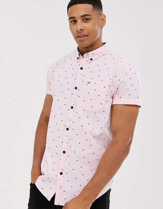 Hollister all over print short sleeve poplin shirt slim fit in pink