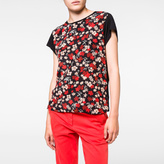 Paul Smith Women's Black T-Shirt With 'Wild Floral' Silk Front