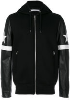 Givenchy star and stripe appliqué hooded jacket - men - Lamb Skin/Acrylic/Cupro/Wool - 46
