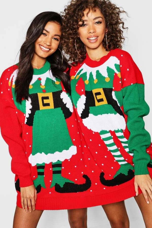 boohoo Mr & Mrs Elf Twin Christmas Jumper