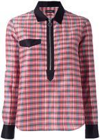 Isabel Marant checked zip neckline shirt - women - Ramie/Cotton/Silk - 36