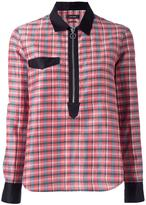 Isabel Marant checked zip neckline shirt - women - Silk/Cotton/Ramie - 36