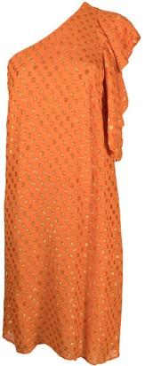 L'Autre Chose Polka-Dot One-Shoulder Dress