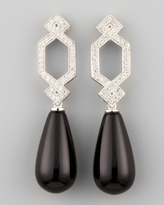 Ivanka Trump Short Diamond Crossover Earrings with Black Onyx Drop