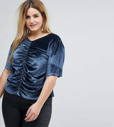 Asos T-Shirt in Velvet with Ruching and Puff Sleeve