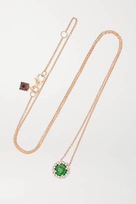 Selim Mouzannar Beirut Basic 18-karat Rose Gold, Tsavorite And Diamond Necklace