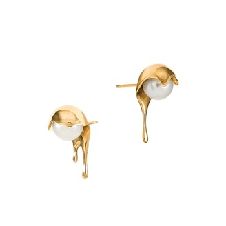 Marie June Jewelry Melting White Pearl 24k Gold Vermeil Earrings